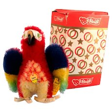 STEIFF PARROT LORA  Standing Parrot; WITH BOX, 2520,12; Red, Blue and Yellow Mohair with Spread Wings