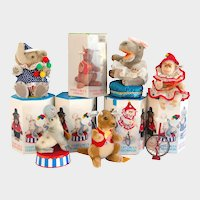 SALE! STEIFF CIRCUS PERFORMERS: Five MINT and Original Additional Animals; Elephant, Hippo, Seal, Kangaroo and Chimp with Unicycle