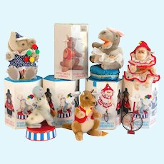 STEIFF CIRCUS PERFORMERS: Five MINT and ORIGINAL Additional Animals; Elephant, Hippo, Seal, Kangaroo and Chimp with UNICYCLE