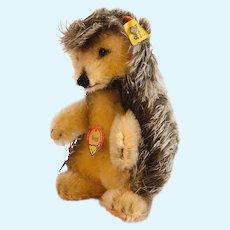 "STEIFF JOGGI PORCUPINE Hedgehog 4312 ;5 "" Tall, 1959; Swivel Head, Black Glass Eyes, Short Mohair & Felt"