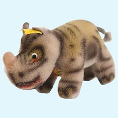 STEIFF NOSY RHINOCEROS; 1955 Very Early 6.5 Inches Long; Produced from 1954 to 1974