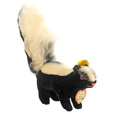 STEIFF Black and White SKUNK 1410,0 1962 - Mohair With No Damage or Wear: Original Ear Button, Original Yellow and Cardboard Tags