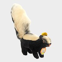 STEIFF Mohair SKUNK Black and White 1410,0 1962 - No Damage or Wear: Original Ear Button, Original Yellow and Cardboard Tags