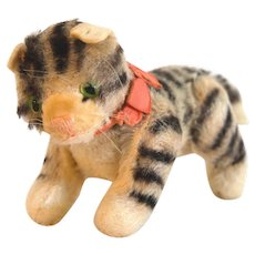 "STEIFF KITTY CAT - Grey/white Stripe 7"" Long x 3-3/4"" Tall; 1959 Fully Jointed, White/grey Mohair"