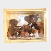 """MARGARET STRONG TEDDYS 0160/00 MINT Display Boxed; Chocolate Brown Teddy Bear Set 1983 of 4 Bears; Limited Edition Collectors Set Issued """"to Celebrate the First Anniversary of the Margaret Strong Museum New York"""""""
