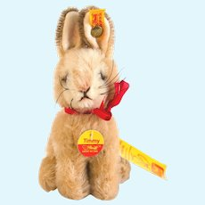 STEIFF BUNNY RABBIT Timmy 1959; Light Beige and Darker Brown with Red Ribbon