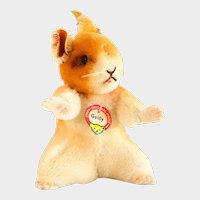 """STEIFF HAMSTER GOLDY  4310 With Box Very Early 1955; 4"""" Tall, Hard Bodied, Non-jointed, Rotating Head"""