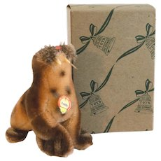 STEIFF WALRUS PADDY; Small Size 1959. 4310,06 - With Original Box, Delicate Airbrushed Mohair