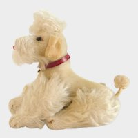 """STEIFF WHITE POODLE; 7-1/2"""" X 6"""" - 1959; Cream Mohair, Fully Jointed with Red Leather Collar"""