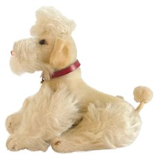 "STEIFF WHITE POODLE; 7-1/2"" X 6"" - 1959; Cream Mohair, Fully Jointed with Red Leather Collar"
