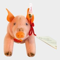 """PIG HAPPY STEIFF  2000; Boxed Good Luck Pig 1999; Pink Pig With Red Silk Rope and """"Happy 2000"""" Embroidered On Side"""