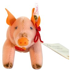 "PIG HAPPY STEIFF  2000; Boxed Good Luck Pig 1999; Pink Pig With Red Silk Rope and ""Happy 2000"" Embroidered On Side"