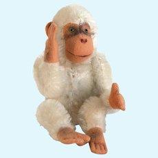 STEIFF MONKEY CHIMPANZEE 5315,04 1950/51 JOCO White Chimpanzee; Sitting and Jointed White Mohair