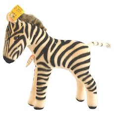 """6412,0STEIFF 1959 Zebra 5-1/2"""" Tall; Firmly Stuffed Body Made of Striped Velvet With Brown Glass Eyes"""