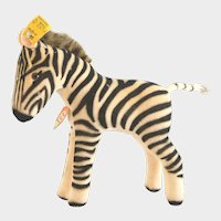 """STEIFF ZEBRA 1959 6412,0; 5-1/2"""" Tall; Firmly Stuffed Body Made of Striped Velvet With Brown Glass Eyes"""
