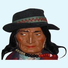 SKOOKUM 1940 McAboy Man With Felt Hat; Original Indian Wood Body, Wool Blanket, Near Mint Condition No Damage