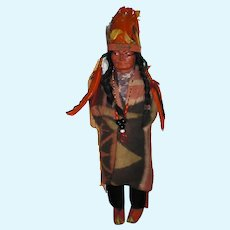 SKOOKUM 1930 McAboy Native American With Feathered Headdress; Original Indian Wood Body, Wool Blanket, Mint Condition No Damage