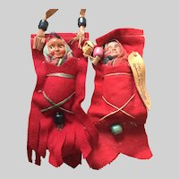 """2 - SKOOKUM Red Felt Pocket Papoose' ; One Tagged with Leather """"Trees of Mystery Redwood Highway"""""""