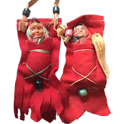 "2 - SKOOKUM Red Felt Pocket Papoose' ; One Tagged with Leather ""Trees of Mystery Redwood Highway"""