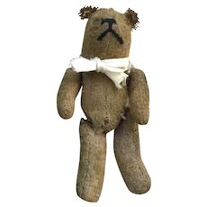 WELL LOVED Antique Very Small Jointed Mohair TEDDY with Original Ribbon and Glass Eyes