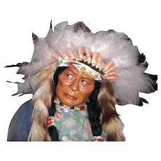 """SKOOKUM 36"""" Store Display: 1950 Native American With Feathered Headdress; Original Indian Wood Body, Wool Blanket, Mint Condition No Damage"""