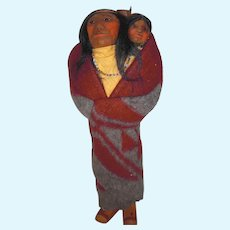 OOAK Mary Francis WOODS; Indian Skookum Standing Woman With Papoose; 1930's