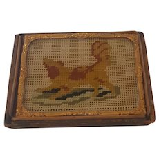 Diminutive Framed 19th C. Dog Needlepoint on Paper