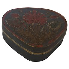 Unique Late 19th C. German Folk Art Triangular Marriage Box with Stylize Floral Design
