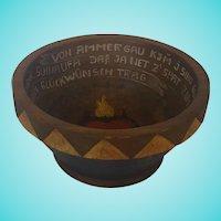 Diminutive Late 19th C. German Folk Art Marriage Bowl with Flaming Heart & Writing