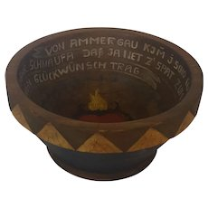 Diminutive Late 19th C. German Folk Art Marriage Bowl with Flaming Heart & Writing