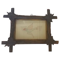 19th C. Folk Art Watercolor Painting of Flying Bird from my Collection