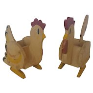 Pair Vintage Naive Folk Art Rooster & Hen Match/Toothpick Holders