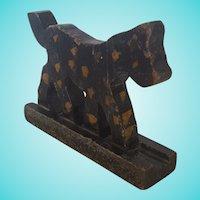 Vintage Primitive Naive Folk Art Black & Mustard Spotted Dog Carving