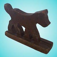Vintage Primitive Naive Folk Art Brown & Black Spotted Dog Carving