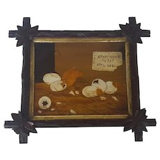 Vintage Naive Folk Art Hatching Baby Chicks Oil Painting in Carved Frame