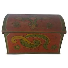 Antique Early 1900's Norwegian Folk Art Miniature Painted Blanket Chest