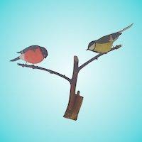 Vintage Mid-Century Swedish Folk Art Pair of Carved Birds on Branch