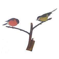 Vintage Mid-Century Swedish Folk Art Pair of Carved Birds on Branch