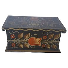 Vintage Folk Art Miniature Footed Blanket Chest with Tulip Design