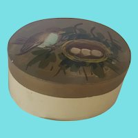Vintage Folk Art Painted Trinket Box with Bird & Nest Design