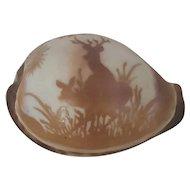Vintage Folk Art Carved Cowrie Shell with Deer Design