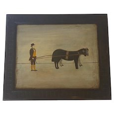 Vintage Naive Folk Art Painting on Board of Man with 2 Horses