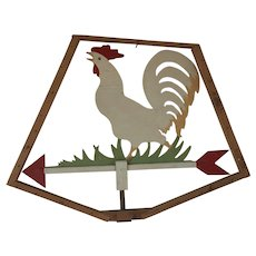 Vintage Primitive Folk Art Double Sided Rooster Weather Vane Trade Sign