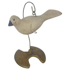 """Vintage Signed """"BBD"""" Miniature Dove Whimsy Carving"""