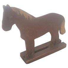 Vintage Primitive Folk Art 2-Dimensional Carved and Painted Horse