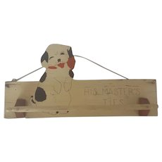 "Cute Vintage Folk Art Tie Rack w/Begging Puppy & Carved Wooden""Bone"" Bar"