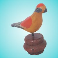 Vintage PA. Folk Art Fanciful Polychrome Bird Carving on Old Finial