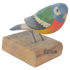 Vintage German Folk Art Polychrome Painted Bird Carving From My Collection