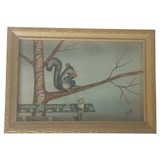Vintage Folk Art Stamp Picture of Squirrel in Tree from my Collection