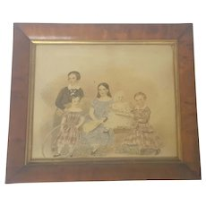 Rare and Exceptional C.1840's Folk Art Watercolor Painting of 5 Siblings